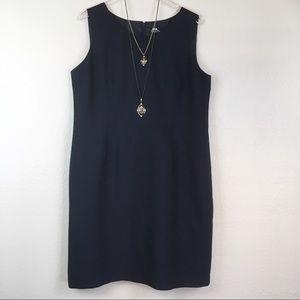 Evan-Picone Suit Navy Linen Texture Sheath Dress